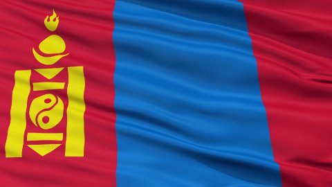 Close Up Waving National Flag of Mongolia - stock footage