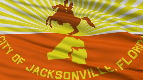 Close Up Waving National Flag of Jacksonville City - stock footage