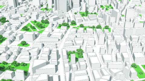 3D-CG animation of bird's-eye viewing city. - stock footage