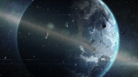 Ring of debris around Earth. Two fragments of satellite collide and create new debris. - stock footage