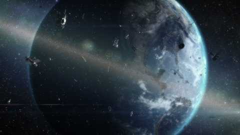 Ring of debris around Earth - stock footage