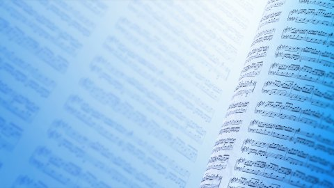 Musical notes composition background in blue, LOOP. - stock footage