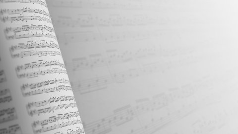Musical notes composition background in gray, LOOP. - stock footage