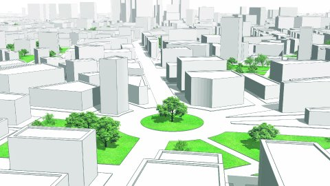 City 3d Abstract Model. Birds Eye View. Seamless Loop. Camera moves back. - stock footage