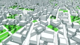 Camera flight through 3D City, seamless loop, symbolic Buildings.