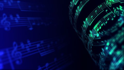 Musical notes composition background in blue and green, LOOP. - stock footage