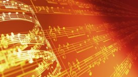 Music notes background in gold, LOOP. - motion graphic