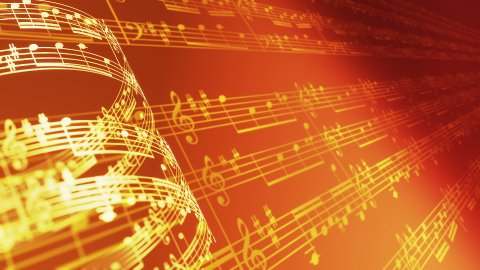 Music notes background in gold, LOOP. - stock footage