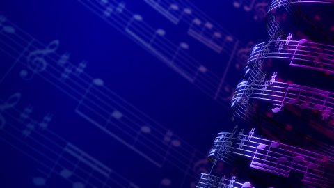 Musical notes composition background, infinity LOOP. - stock footage