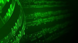 Music notes background in green, LOOP. - motion graphic