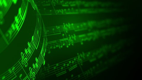 Music notes background in green, LOOP. - stock footage