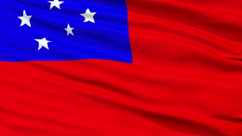 Apia City Close Up Waving Flag - stock footage