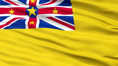 Niue City Close Up Waving Flag - stock footage