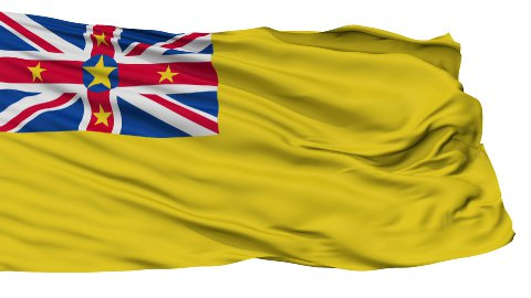 Niue City Isolated Waving Flag - stock footage