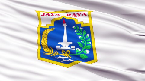 Jakarta City Close Up Waving Flag - stock footage
