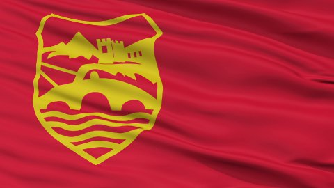 Skopje City Close Up Waving Flag - stock footage