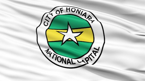 Honiara City Close Up Waving Flag - stock footage