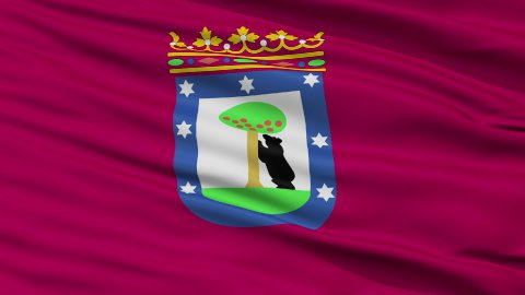 Madrid City Close Up Waving Flag - stock footage