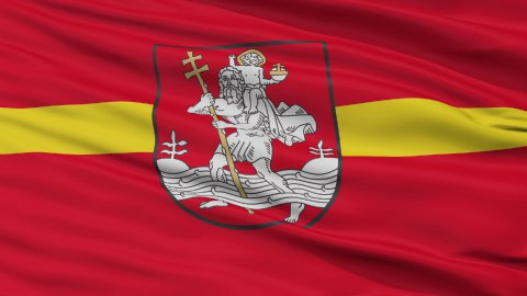 Vilnius City Close Up Waving Flag - stock footage