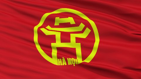 Hanoi City Close Up Waving Flag - stock footage