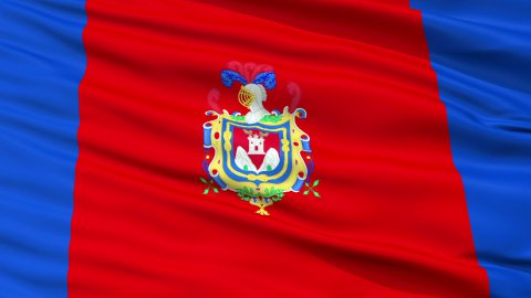 Quito City Close Up Waving Flag - stock footage