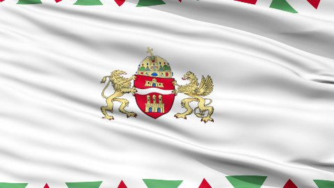 Budapest City Close Up Waving Flag - stock footage