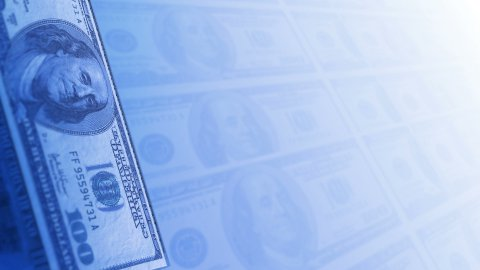 Many 100 US Dollars Bank Notes Rotating Business Background. LOOP. - stock footage