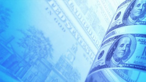 Dollars Money Banknotes Rotating Video Background. Seamless Loop. - stock footage
