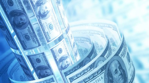 Dollars Money Banknotes Rotating Background Loop. - stock footage