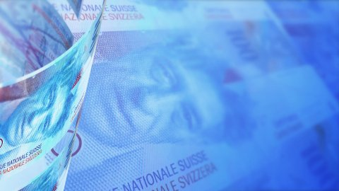 Swiss Francs Looped Motion Money Background - stock footage