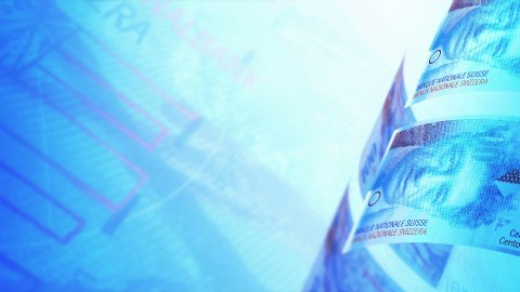 Swiss Francs Money Banknotes Rotating Video Background. Seamless Loop. - stock footage