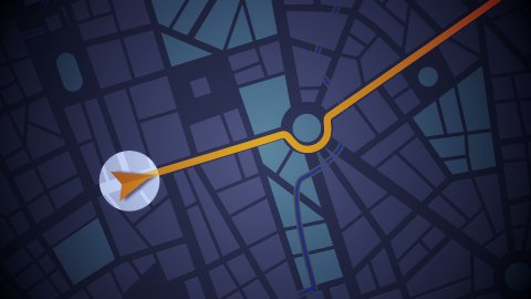 GPS Navigation, Localization. Seamless loop. 2D view. - stock footage