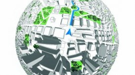 Localization, GPS Navigation, Path Finding in the city. Routing. - motion graphic