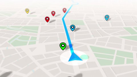 GPS Navigation, Localization. Seamless loop. 3D view. - stock footage