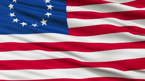 13 Stars Betsy Ross USA Close Up Waving Flag - stock footage