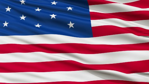 13 Stars USA Close Up Waving Flag - stock footage