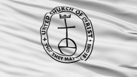 United Church Christ Religious Close Up Waving Flag