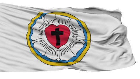 Lutheran Rose Religious Isolated Waving Flag - stock footage