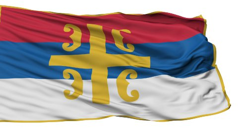 Serbian Orthodox Church Religious Isolated Waving Flag - stock footage