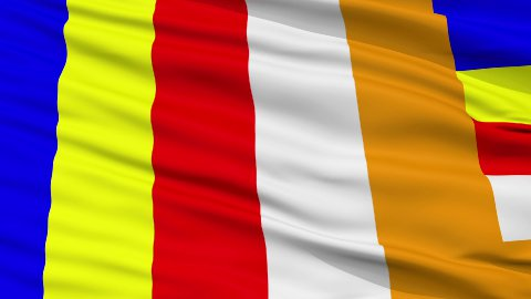 Buddhist Religious Close Up Waving Flag - stock footage