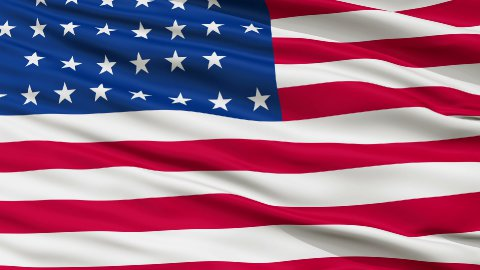 36 Stars USA Close Up Waving Flag - stock footage