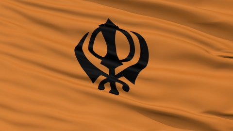 Khalistan Religious Close Up Waving Flag - stock footage