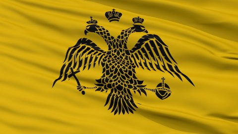 Patriarch of Constantinople Religious Close Up Waving Flag - stock footage