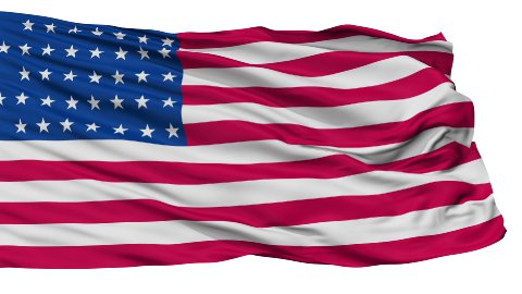 37 Stars USA Isolated Waving Flag - stock footage