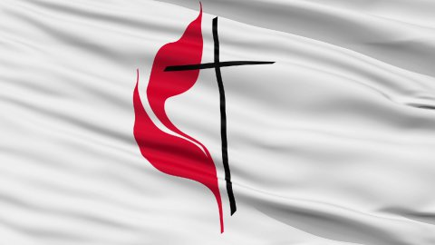 Methodist Cross Flame Religious Close Up Waving Flag - stock footage