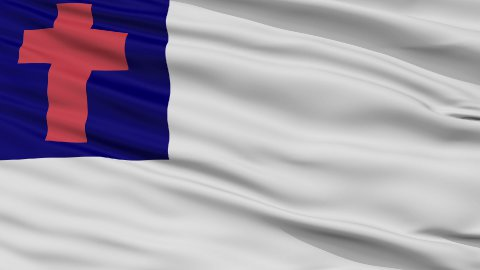 Christian Religious Close Up Waving Flag - stock footage