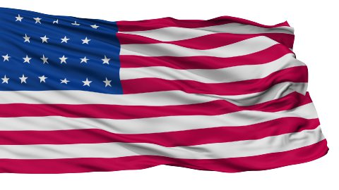21 Stars USA Isolated Waving Flag - stock footage
