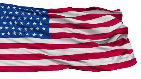 45 Stars USA Isolated Waving Flag - stock footage