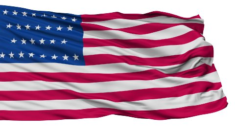 29 Stars USA Isolated Waving Flag - stock footage