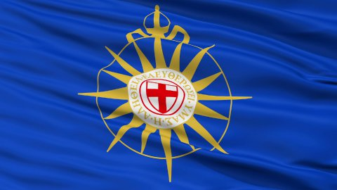 Anglican Communion Religious Close Up Waving Flag - stock footage